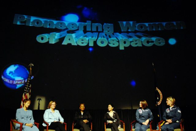 KENNEDY SPACE CENTER, FLA. —  On stage for the World Space Expo's Pioneering Women of Aerospace forum are Ret. Colonel Eileen Collins, the first female shuttle commander; Dr. Kathryn D. Sullivan, the first American woman to spacewalk; Patricia Grace Smith, with the FAA, the first associate administrator of commercial space transportation; Dr. Anousheh Ansari, a spaceflight participant; Major Nicole Malachowski, the first female pilot with the U.S. Air Force Thunderbirds; and Major Samantha Weeks, the first female solo pilot with the  U.S. Air Force Thunderbirds. The expo commemorates humanity's first 50 years in space while looking forward to returning people to the moon and exploring beyond.  The expo showcased various panels, presentations and educational programs, as well as an aerial salute featuring the U.S. Air Force Thunderbirds, U.S. Air Force F-22 Raptor, U.S. Navy F-18 Super Hornet, U.S. Air Force F-15 Eagle, the P-51 Mustang Heritage Flight, and the U.S. Air Force 920th Rescue Wing, which was responsible for Mercury and Gemini capsule recovery. The U.S. Army Golden Knights also demonstrated precision skydiving.  Photo credit: NASA/Kim Shiflett KSC-07pd3076