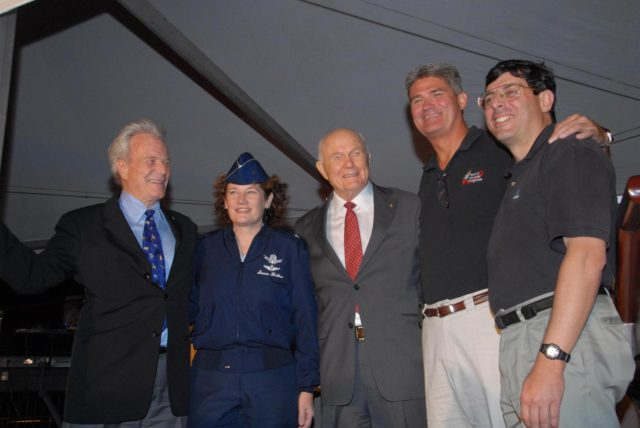 KENNEDY SPACE CENTER, FLA. -- During the World Space Expo held at NASA's Kennedy Space Center Visitor Complex, veteran astronauts pose with current and future VIPs of the Space Program: from left, Mercury astronaut Scott Carpenter; Brig. Gen. Susan  J. Helms, Commander of the 45th Space Wing at Patrick Air Force Base and former shuttle astronaut;  Mercury astronaut John Glenn, who also flew on space shuttle Discovery for STS-95 in 1998; Kennedy Space Center Director Bill Parsons; and NASA Associate Administrator Chris Scolese.  The astronauts were part of the World Space Expo, an event to commemorate humanity's first 50 years in space while looking forward to returning people to the moon and exploring beyond.  The expo showcased various panels, presentations and educational programs, as well as an aerial salute featuring the U.S. Air Force Thunderbirds, U.S. Air Force F-22 Raptor, U.S. Navy F-18 Super Hornet, U.S. Air Force F-15 Eagle, the P-51 Mustang Heritage Flight, and the U.S. Air Force 920th Rescue Wing, which was responsible for Mercury and Gemini capsule recovery. The U.S. Army Golden Knights also demonstrated precision skydiving.  Photo credit: NASA/George Shelton KSC-07pd3104