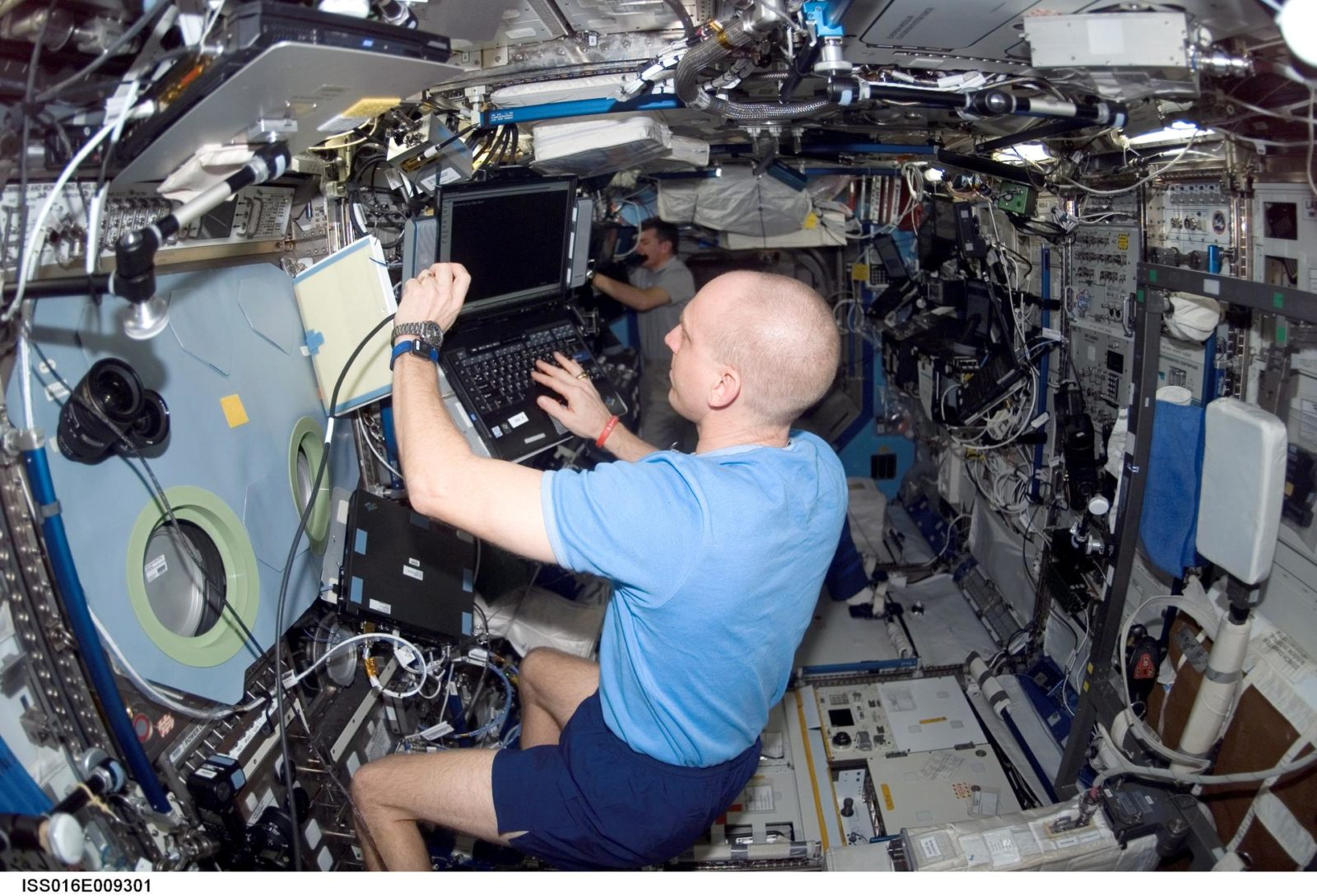 Anderson in the US Lab during Expedition 16 / STS-120 joint operations