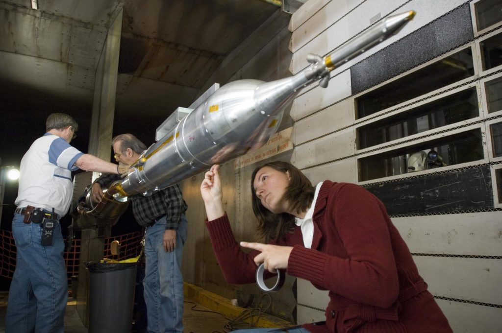 CLV ascent model test 11-0179 11ft. supersonic wind tunnel  with Amela Zanacic removal of model ARC-2008-ACD08-0095-009