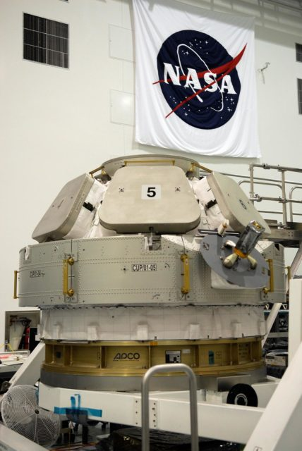 CAPE CANAVERAL, Fla.  –  The Cupola, another module built in Italy for the United States segment of the International Space Station, resides in the Space Station Processing Facility. With 360-degree windows, it will serve as a literal skylight to control some of the most sophisticated robotics ever built. The space station crew will use Cupola windows, six around the sides and one on the top, for line-of-sight monitoring of outside activities, including spacewalks, docking operations and exterior equipment surveys. The Cupola will be used specifically to monitor the approach and berthing of the Japanese H-2 supply spacecraft and other visiting vehicles. The Cupola also will serve as the primary location for controlling Canadarm2, the 60-foot space station robotic arm. Space station crews currently use two robotic control workstations in the Destiny laboratory to operate the arm. One of the robotic control stations will be placed inside the Cupola. The view from the Cupola will enhance an arm operator's situational awareness, supplementing television cameras and graphics. The Cupola is scheduled to launch on a future space station assembly mission. It will be installed on the forward port of Node 3, a connecting module to be installed as well.  Photo credit: NASA/Kim Shiflett KSC-08pd1794