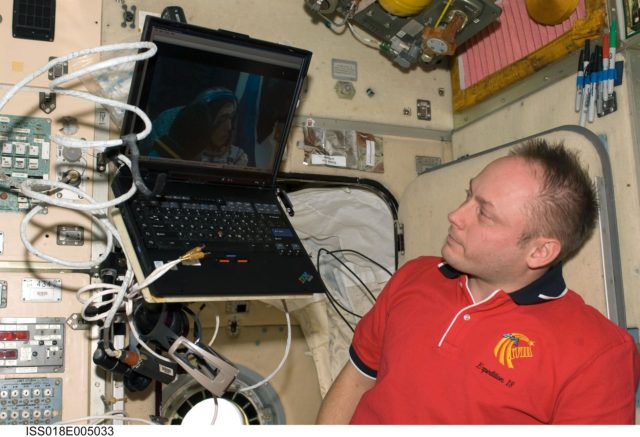 ISS Expedition 18 Fincke in the Service Module (SM)