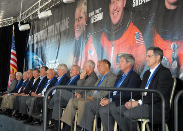 "CAPE CANAVERAL, Fla. –– Hall of Fame astronauts (from left) Gordon Fullerton, Henry W. ""Hank"" Hartsfield Jr., Rick Hauk,  Dan Brandenstein, Brewster Shaw, Robert ""Hoot"" Gibson, Bruce McCandless, Steven Hawley, Loren Shriver, Jeff Hoffman, Fred Gregory, John Blaha and Bob Cabana watch the U.S. Astronaut Hall of Fame induction ceremony at NASA's Kennedy Space Center Visitor Complex in Florida. Cabana is the Kennedy Space Center director. The ceremony took place May 2. More than 20 hall of fame astronauts attended, including Scott Carpenter, Walt Cunningham, Jim Lovell and Bob Crippen. Photo credit: NASA/Jim Grossmann KSC-2009-2925"