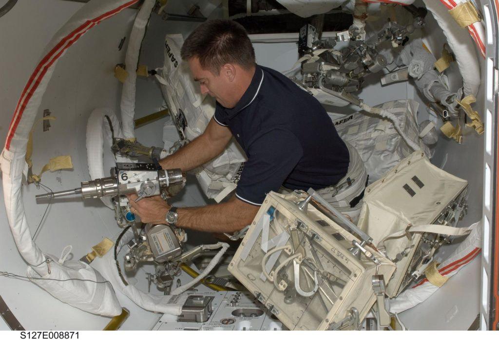 Cassidy works with EVA Tools in the A/L during Joint Operations