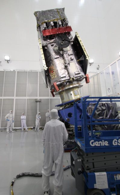 CAPE CANAVERAL, Fla. – At the Astrotech Payload Processing Facility in Titusville, Fla.,  the Solar Dynamics Observatory is  rotated on a Ransome table.  The rotation will allow access to different areas of the spacecraft.  SDO is the first space weather research network mission in NASA's Living With a Star Program.  The spacecraft's long-term measurements will give solar scientists in-depth information about changes in the sun's magnetic field and insight into how they affect Earth.  In preparation for its anticipated November launch, engineers will perform a battery of comprehensive tests to ensure SDO can withstand the stresses and vibrations of the launch itself, as well as what it will encounter in the space environment after launch.  Photo credit: NASA/Jack Pfaller KSC-2009-4270