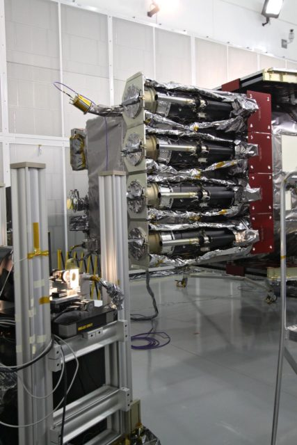 CAPE CANAVERAL, Fla. – At the Astrotech Space Operations facility in Titusville, Fla., the Solar Dynamics Observatory, or SDO, is undergoing performance testing.  Seen here is the Atmospheric Imaging Assembly.  All of the spacecraft science instruments are being tested in their last major evaluation before launch.  SDO is the first space weather research network mission in NASA's Living With a Star Program.  The spacecraft's long-term measurements will give solar scientists in-depth information about changes in the sun's magnetic field and insight into how they affect Earth.  In preparation for launch, engineers will perform a battery of comprehensive tests to ensure SDO can withstand the stresses and vibrations of the launch itself, as well as what it will encounter in the space environment after launch.  Liftoff on an Atlas V rocket is scheduled for Dec. 4.  Photo credit: NASA/Jack Pfaller KSC-2009-4588