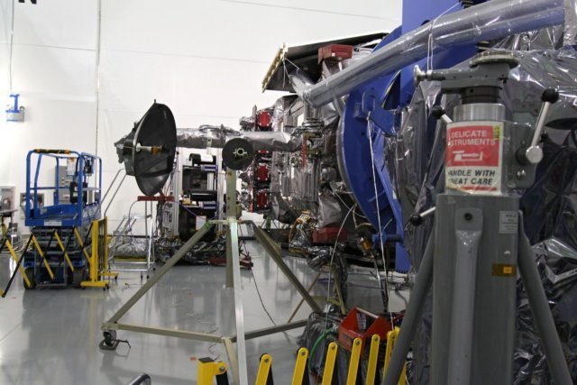 CAPE CANAVERAL, Fla. – At the Astrotech Space Operations facility in Titusville, Fla., the Solar Dynamics Observatory, or SDO, is moved, or gimbaled, during performance testing.  All of the spacecraft science instruments are being tested in their last major evaluation before launch.  SDO is the first space weather research network mission in NASA's Living With a Star Program.  The spacecraft's long-term measurements will give solar scientists in-depth information about changes in the sun's magnetic field and insight into how they affect Earth.  In preparation for launch, engineers will perform a battery of comprehensive tests to ensure SDO can withstand the stresses and vibrations of the launch itself, as well as what it will encounter in the space environment after launch.  Liftoff on an Atlas V rocket is scheduled for Dec. 4.  Photo credit: NASA/Jack Pfaller KSC-2009-4590