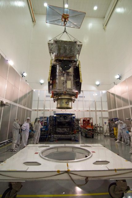 CAPE CANAVERAL, Fla. – At the Astrotech Space Operations facility in Titusville, Fla., the Solar Dynamics Observatory, or SDO, is moved toward a test stand during preparations for propulsion system testing and leak checks.    SDO is the first space weather research network mission in NASA's Living With a Star Program. The spacecraft's long-term measurements will give solar scientists in-depth information about changes in the sun's magnetic field and insight into how they affect Earth. Liftoff on an Atlas V rocket is scheduled for Feb. 3, 2010. Photo credit: NASA/Amanda Diller KSC-2009-5299