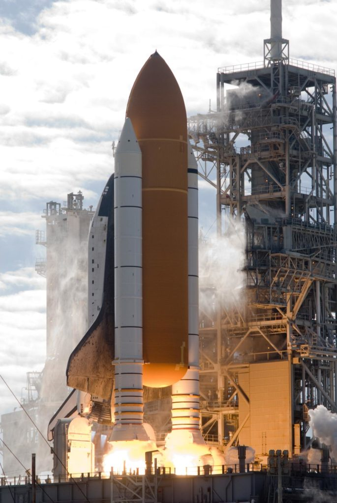 CAPE CANAVERAL, Fla. - On Launch Pad 39A at NASA's Kennedy Space Center in Florida, space shuttle Atlantis rises from its mobile launcher platform as its twin solid rocket boosters ignite and the eight hold-down posts securing it to the platform are released.     Liftoff on its STS-129 mission came at 2:28 p.m. EST Nov. 16.  Aboard are crew members Commander Charles O. Hobaugh; Pilot Barry E. Wilmore; and Mission Specialists Leland Melvin, Randy Bresnik, Mike Foreman and Robert L. Satcher Jr.  On STS-129, the crew will deliver two ExPRESS Logistics Carriers to the International Space Station, the largest of the shuttle's cargo carriers, containing 15 spare pieces of equipment including two gyroscopes, two nitrogen tank assemblies, two pump modules, an ammonia tank assembly and a spare latching end effector for the station's robotic arm.  Atlantis will return to Earth a station crew member, Nicole Stott, who has spent more than two months aboard the orbiting laboratory.  STS-129 is slated to be the final space shuttle Expedition crew rotation flight. For information on the STS-129 mission and crew, visit http://www.nasa.gov/mission_pages/shuttle/shuttlemissions/sts129/index.html.    Photo credit: NASA/Rusty Backer KSC-2009-6394