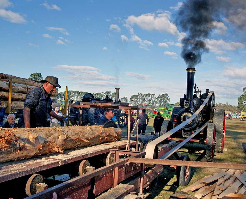 Steam powered sawmill.
