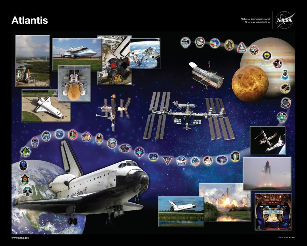 CAPE CANAVERAL, Fla. -- This is a printable version of space shuttle Atlantis' orbiter tribute, or OV-104, which hangs in Firing Room 4 of the Launch Control Center at NASA's Kennedy Space Center in Florida. In the lower-left corner, it features Atlantis soaring above Earth and threaded through the design are the mission patches for each of Atlantis' flights. Atlantis' accomplishments include seven missions to the Russian space station Mir and several assembly, construction and resupply missions to the International Space Station. Atlantis also flew the last Hubble Space Telescope servicing mission on STS-125. In the tribute, the planet Venus represents the Magellan probe being deployed during STS-30, and Jupiter represents the Galileo probe being deployed during STS-34. The inset photos illustrate various aspects of shuttle processing as well as significant achievements, such as the glass cockpit and the first shuttle docking with Mir during STS-71. The inset photo in the upper-left corner shows a rainbow over Atlantis on Launch Pad 39A and shuttle Endeavour on Launch Pad 39B at Kennedy. Endeavour was the assigned vehicle had Atlantis' STS-125 mission needed rescue, and this was the last time both launch pads were occupied at the same time. The stars in the background represent the many people who have worked with Atlantis and their contributions to the vehicle's success. Graphic design credit: NASA/Amy Lombardo. NASA publication number: SP-2010-08-161-KSC KSC-2010-4450B