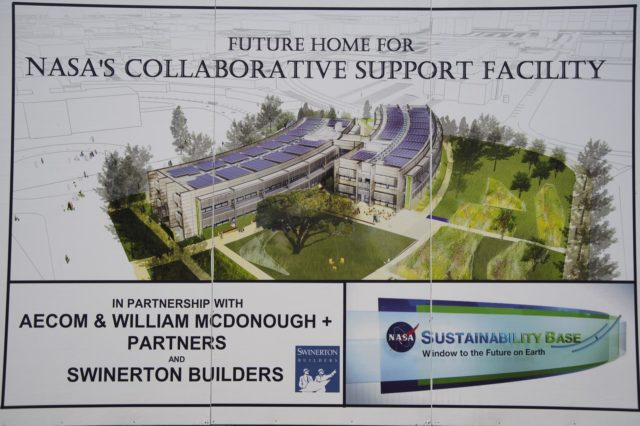 Construction of the new NASA Ames Green Building dubbed Sustainability Base located on the Ames Research Center campus at Moffett Field, CA.  Construction Sign. 'Future home of for NASA's Collaborative Support Facility' in partnership with AECOM & William McDonough + Partners and Swinerton Builders ....Sustainability Base ..window to the future on Earth. ARC-2010-ACD10-0037-165