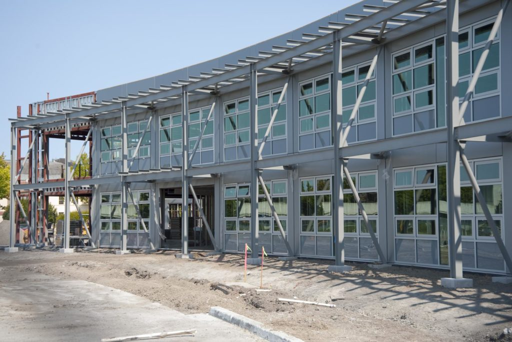 Construction of the new NASA Ames Green Building dubbed Sustainability Base located on the Ames Research Center campus at Moffett Field, CA. windows going in. ARC-2010-ACD10-0037-170