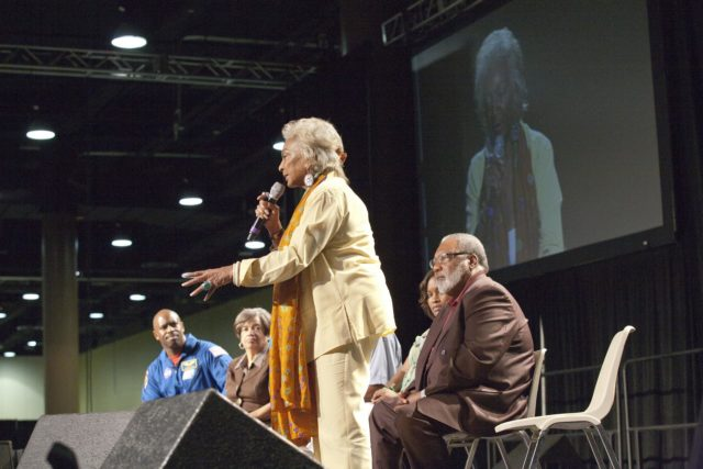 """ORLANDO, Fla. -- During the 2010 Tom Joyner Family Reunion, space activist and actress Nichelle Nichols talks to attendees at the Gaylord Palms Convention Center in Orlando, Fla. To encourage student attendees to focus on pursuing careers in science, technology, engineering and mathematics (STEM), NASA featured some of its greatest legends and trailblazers during a panel discussion at the reunion event. Other panel members included NASA astronaut Leland Melvin, Christine Darden, Lew Braxton, Robyn Gordon and Jim Jennings.    NASA's Education Office sponsored the panel discussion and educational activities as part of the agency's """"Summer of Innovation"""" initiative and the federal """"Educate to Innovate"""" campaign. Photo credit: NASA/Amanda Diller KSC-2010-4578"""
