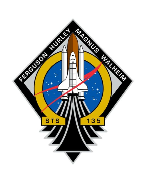 JOHNSON SPACE CENTER, Houston - STS135-S-001 ---The STS-135 patch represents the space shuttle Atlantis embarking on its mission to resupply the International Space Station. Atlantis is centered over elements of the NASA emblem depicting how the space shuttle has been at the heart of NASA for the last 30 years. It also pays tribute to the entire NASA and contractor team that made possible all the incredible accomplishments of the space shuttle. Omega, the last letter in the Greek alphabet, recognizes this mission as the last flight of the Space Shuttle Program. Public availability has been approved only in the form of illustrations by the various news media. When and if there is any change in this policy, which we do not anticipate, it will be publicly announced. Photo credit: NASA or National Aeronautics and Space Administration KSC-2011-4286