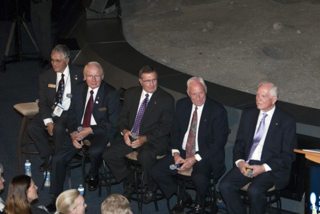 CAPE CANAVERAL, Fla. -- The Apollo/Saturn V Center at NASA's Kennedy Space Center in Florida hosted a celebration on the 40th anniversary of NASA's Apollo 15 mission. Apollo 15 Commander Dave Scott and Command Module Pilot Al Worden and an elite gathering of Apollo-era astronauts were on hand for the event and panel discussion. Seen here are Apollo 15 astronaut backup support crew members, Jack Schmitt (left), Vance Brand and Dick Gordon; Al Worden and Dave Scott.      Worden circled the moon while Scott and the late Jim Irwin, the Lunar Module commander, made history when they became the first humans to drive a vehicle on the surface of the moon. They also provided extensive descriptions and photographic documentation of geologic features in the vicinity of the Hadley Rille landing site during their three days on the lunar surface. Photo credit: NASA/Kim Shiflett KSC-2011-5967