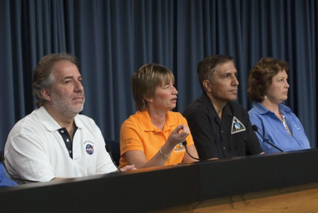 CAPE CANAVERAL, Fla. – – A Gravity Recovery and Interior Laboratory (GRAIL) mission science briefing is held in the NASA Press Site auditorium at NASA's Kennedy Space Center in Florida. From left are Robert Fogel, NASA's GRAIL program scientist; Maria Zuber, GRAIL principal investigator with the Massachusetts Institute of Technology; Sami Asmar, GRAIL deputy project scientist, NASA's Jet Propulsion Laboratory; and Leesa Hubbard, teacher in residence, Sally Ride Science, San Diego. GRAIL is scheduled to launch Sept. 8 aboard a United Launch Alliance Delta II Heavy rocket from Cape Canaveral Air Force Station in Florida.    GRAIL will fly twin spacecraft in tandem around the moon to precisely measure and map variations in the moon's gravitational field. The mission will provide the most accurate global gravity field to date for any planet, including Earth. This detailed information will reveal differences in the density of the moon's crust and mantle and will help answer fundamental questions about the moon's internal structure, thermal evolution, and history of collisions with asteroids. The aim is to map the moon's gravity field so completely that future moon vehicles can safely navigate anywhere on the moon's surface. For more information, visit http://www.nasa.gov/grail. Photo credit: NASA/Kim Shiflett KSC-2011-6767