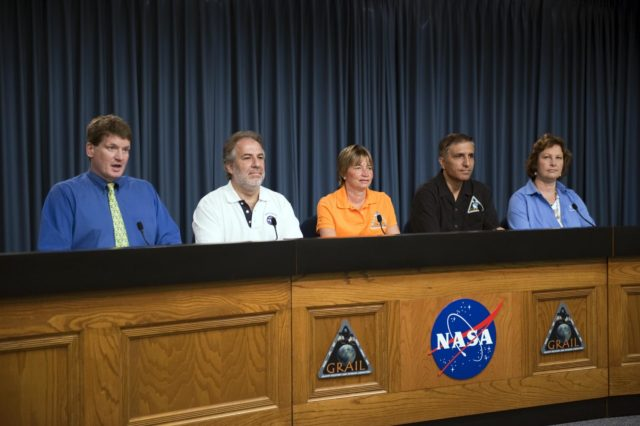 CAPE CANAVERAL, Fla. – – A Gravity Recovery and Interior Laboratory (GRAIL) mission science briefing is held in the NASA Press Site auditorium at NASA's Kennedy Space Center in Florida. From left are DC Agle, NASA Public Affairs; Robert Fogel, NASA's GRAIL program scientist; Maria Zuber, GRAIL principal investigator with the Massachusetts Institute of Technology; Sami Asmar, GRAIL deputy project scientist, NASA's Jet Propulsion Laboratory; and Leesa Hubbard, teacher in residence, Sally Ride Science, San Diego. GRAIL is scheduled to launch Sept. 8 aboard a United Launch Alliance Delta II Heavy rocket from Cape Canaveral Air Force Station in Florida.    GRAIL will fly twin spacecraft in tandem around the moon to precisely measure and map variations in the moon's gravitational field. The mission will provide the most accurate global gravity field to date for any planet, including Earth. This detailed information will reveal differences in the density of the moon's crust and mantle and will help answer fundamental questions about the moon's internal structure, thermal evolution, and history of collisions with asteroids. The aim is to map the moon's gravity field so completely that future moon vehicles can safely navigate anywhere on the moon's surface. For more information, visit http://www.nasa.gov/grail. Photo credit: NASA/Kim Shiflett KSC-2011-6769