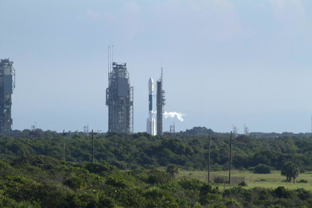 CAPE CANAVERAL, Fla. – Over a group of trees and bushes, the United Launch Alliance Delta II Heavy rocket carrying NASA's twin Gravity Recovery and Interior Laboratory (GRAIL) mission launches off Space Launch Complex 17B on Cape Canaveral Air Force Station in Florida. At left is the pad's mobile service tower. The spacecraft launched at 9:08:52 a.m. EDT Sept. 10. GRAIL-A will separate from the second stage of the rocket at about one hour, 21 minutes after liftoff, followed by GRAIL-B at 90 minutes after launch. The spacecraft are embarking on a three-month journey to reach the moon.    GRAIL will fly twin spacecraft in tandem around the moon to precisely measure and map variations in the moon's gravitational field. The mission will provide the most accurate global gravity field to date for any planet, including Earth. This detailed information will reveal differences in the density of the moon's crust and mantle and will help answer fundamental questions about the moon's internal structure, thermal evolution, and history of collisions with asteroids. The aim is to map the moon's gravity field so completely that future moon vehicles can safely navigate anywhere on the moon's surface. For more information, visit http://www.nasa.gov/grail. Photo credit: NASA/Kenny Allen KSC-2011-6927