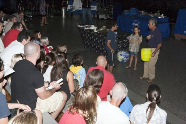 CAPE CANAVERAL, Fla. – Children participate in educational activities during Kennedy Space Center's Family Night, Sept. 10, at the U.S. Astronaut Hall of Fame in Florida.    NASA and the Kennedy Space Center Visitor Complex hosted the annual NASA family education night. The event, for fifth- through eighth-grade students and their parents, focuses on science, technology, engineering and mathematics (STEM) education activities that included astronaut appearances, a hovercraft, vortex cannon and alternative fuel vehicles. The back-to-school event is part of NASA's Summer of Innovation initiative to provide interactive learning experiences to middle school students nationwide.  Photo credit: NASA/Amanda Diller KSC-2011-6968