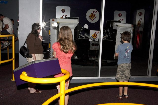 CAPE CANAVERAL, Fla. – Children view educational displays during Kennedy Space Center's Family Night, Sept. 10, at the U.S. Astronaut Hall of Fame in Florida.    NASA and the Kennedy Space Center Visitor Complex hosted the annual NASA family education night. The event, for fifth- through eighth-grade students and their parents, focuses on science, technology, engineering and mathematics (STEM) education activities that included astronaut appearances, a hovercraft, vortex cannon and alternative fuel vehicles. The back-to-school event is part of NASA's Summer of Innovation initiative to provide interactive learning experiences to middle school students nationwide.  Photo credit: NASA/Amanda Diller KSC-2011-6970