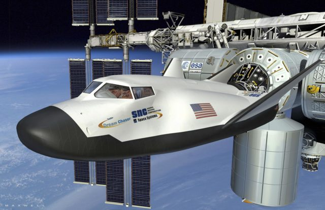 CAPE CANAVERAL, Fla. -- This is an artist's conception of the Dream Chaser spacecraft under development by Sierra Nevada of Centennial, Colo., for NASA's Commercial Crew Program (CCP). In 2011, NASA selected Sierra Nevada during Commercial Crew Development Round 2 (CCDev2) activities to mature the design and development of a crew transportation system with the overall goal of accelerating a United States-led capability to the International Space Station. The goal of CCP is to drive down the cost of space travel as well as open up space to more people than ever before by balancing industry's own innovative capabilities with NASA's 50 years of human spaceflight experience. Six other aerospace companies also are maturing launch vehicle and spacecraft designs under CCDev2, including Alliant Techsystems Inc. (ATK), The Boeing Co., Excalibur Almaz Inc., Blue Origin, Space Exploration Technologies (SpaceX), and United Launch Alliance (ULA). For more information, visit www.nasa.gov/commercialcrew. Image credit: Sierra Nevada Corp. KSC-2011-8116