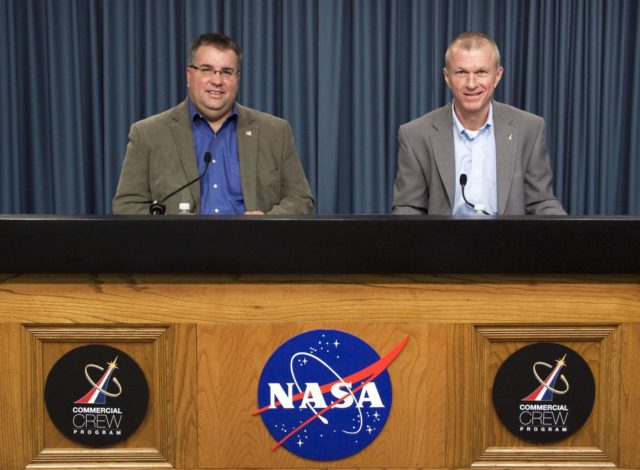 CAPE CANAVERAL, Fla. -- Commercial Crew Program (CCP) Manager Ed Mango, left, and Deputy Program Manager Brent Jett host a Program Strategy Forum at NASA's Kennedy Space Center in Florida. The forum was held to update industry partners about NASA's decision to use multiple, competitively awarded Space Act Agreements (SAAs) instead of an Integrated Design Contract for the agency's next phase of developing commercial space transportation system capabilities. Using SAAs instead of a contract will allow NASA to maintain multiple partners, with the flexibility to adjust technical direction, milestones and funding. The move was made so the program could adapt to dynamic budgetary circumstances while maintaining a high level of competition among transportation providers.    CCP is helping to mature the design and development of a crew transportation system with the overall goal of accelerating a United States-led capability to the International Space Station. The goal of the program is to drive down the cost of space travel as well as open up space to more people than ever before by balancing industry's own innovative capabilities with NASA's 50 years of human spaceflight experience. For more information, visit www.nasa.gov/commercialcrew. Photo credit: NASA/Jim Grossmann KSC-2011-8327