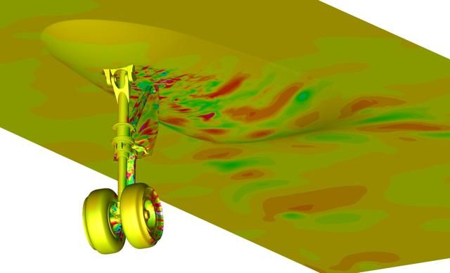 Snapshot from a simulation run on the Pleiades supercomputer. It depicts a fluctuating pressure field on aircraft nose landing gear and fuselage surfaces. The simulation helped scientists better understand the effects of landing gear and acoustic noise. The goal of the study was to improve the current understanding of aircraft nose landing gear noise, which will lead to quieter, more efficient airframe components for future aircraft designs. The visualization was produced with help from the NAS Data Analysis & Visualization group. Investigator: Mehdi Khorrami, NASA Langley Research Center. ARC-2012-ACD12-0020-006