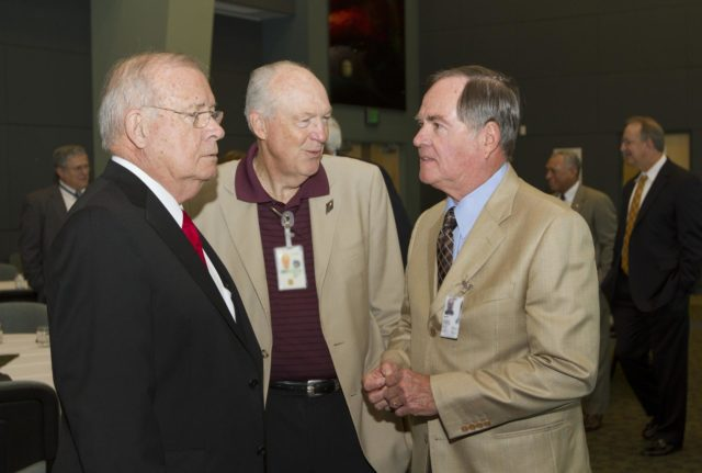 "CAPE CANAVERAL, Fla. - Former Kennedy Space Center directors Jay Honeycutt, left, and Bob Crippen, right, talk during a luncheon Feb. 17, 2012, celebrating 50 years of Americans in orbit, an era which began with Glenn's Mercury mission MA-6, on Feb. 20, 1962.  Glenn's launch aboard an Atlas rocket took with it the hopes of an entire nation and ushered in a new era of space travel that eventually led to Americans walking on the moon by the end of the 1960s. Glenn soon was followed into orbit by Scott Carpenter, Walter Schirra and Gordon Cooper. Their fellow Mercury astronauts Alan Shepard and Virgil ""Gus"" Grissom flew earlier suborbital flights. Deke Slayton, a member of NASA's original Mercury 7 astronauts, was grounded by a medical condition until the Apollo-Soyuz Test Project in 1975. Photo credit: NASA/Kim Shiflett KSC-2012-1413"