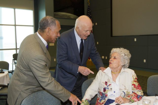 "CAPE CANAVERAL, Fla. - NASA Administrator Charles Bolden, left, talks with astronaut John Glenn and his wife, Annie Glenn, before a luncheon Feb. 17, 2012, celebrating 50 years of Americans in orbit, an era which began with Glenn's Mercury mission MA-6, on Feb. 20, 1962.  Glenn's launch aboard an Atlas rocket took with it the hopes of an entire nation and ushered in a new era of space travel that eventually led to Americans walking on the moon by the end of the 1960s. Glenn soon was followed into orbit by Scott Carpenter, Walter Schirra and Gordon Cooper. Their fellow Mercury astronauts Alan Shepard and Virgil ""Gus"" Grissom flew earlier suborbital flights. Deke Slayton, a member of NASA's original Mercury 7 astronauts, was grounded by a medical condition until the Apollo-Soyuz Test Project in 1975. Photo credit: NASA/Kim Shiflett KSC-2012-1415"