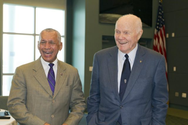 "CAPE CANAVERAL, Fla. - NASA Administrator Charles Bolden, left, shares a laugh with astronaut John Glenn before a luncheon Feb. 17, 2012, celebrating 50 years of Americans in orbit, an era which began with Glenn's Mercury mission MA-6, on Feb. 20, 1962.  Glenn's launch aboard an Atlas rocket took with it the hopes of an entire nation and ushered in a new era of space travel that eventually led to Americans walking on the moon by the end of the 1960s. Glenn soon was followed into orbit by Scott Carpenter, Walter Schirra and Gordon Cooper. Their fellow Mercury astronauts Alan Shepard and Virgil ""Gus"" Grissom flew earlier suborbital flights. Deke Slayton, a member of NASA's original Mercury 7 astronauts, was grounded by a medical condition until the Apollo-Soyuz Test Project in 1975. Photo credit: NASA/Kim Shiflett KSC-2012-1416"