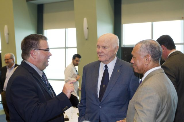 "CAPE CANAVERAL, Fla. - Ed Mango, program manager of NASA's Commercial Crew Program, left, talks with astronaut John Glenn, center and NASA Administrator Charles Bolden before a luncheon Feb. 17, 2012, celebrating 50 years of Americans in orbit, an era which began with Glenn's Mercury mission MA-6, on Feb. 20, 1962.  Glenn's launch aboard an Atlas rocket took with it the hopes of an entire nation and ushered in a new era of space travel that eventually led to Americans walking on the moon by the end of the 1960s. Glenn soon was followed into orbit by Scott Carpenter, Walter Schirra and Gordon Cooper. Their fellow Mercury astronauts Alan Shepard and Virgil ""Gus"" Grissom flew earlier suborbital flights. Deke Slayton, a member of NASA's original Mercury 7 astronauts, was grounded by a medical condition until the Apollo-Soyuz Test Project in 1975. Photo credit: NASA/Kim Shiflett KSC-2012-1417"