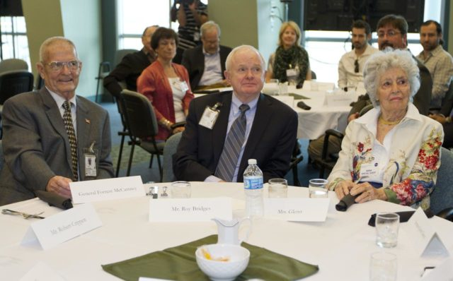 """CAPE CANAVERAL, Fla. - Former Kennedy Space Center directors Forrest McCartney, left, and Roy Bridges, center, listen with Annie Glenn during a luncheon Feb. 17, 2012, celebrating 50 years of Americans in orbit, an era which began with Glenn's Mercury mission MA-6, on Feb. 20, 1962.  Glenn's launch aboard an Atlas rocket took with it the hopes of an entire nation and ushered in a new era of space travel that eventually led to Americans walking on the moon by the end of the 1960s. Glenn soon was followed into orbit by Scott Carpenter, Walter Schirra and Gordon Cooper. Their fellow Mercury astronauts Alan Shepard and Virgil """"Gus"""" Grissom flew earlier suborbital flights. Deke Slayton, a member of NASA's original Mercury 7 astronauts, was grounded by a medical condition until the Apollo-Soyuz Test Project in 1975. Photo credit: NASA/Kim Shiflett KSC-2012-1420"""