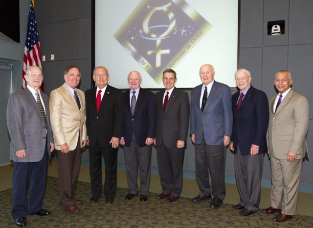 "CAPE CANAVERAL, Fla. - Former Kennedy Space Center directors Forrest McCartney, from left, Bob Crippen, Jay Honeycutt and Roy Bridges stand with current Kennedy director Bob Cabana, Mercury astronauts John Glenn and Scott Carpenter and NASA Administrator Charles Bolden during a luncheon Feb. 17, 2012, celebrating 50 years of Americans in orbit, an era which began with Glenn's Mercury mission MA-6, on Feb. 20, 1962.  Glenn's launch aboard an Atlas rocket took with it the hopes of an entire nation and ushered in a new era of space travel that eventually led to Americans walking on the moon by the end of the 1960s. Glenn soon was followed into orbit by Scott Carpenter, Walter Schirra and Gordon Cooper. Their fellow Mercury astronauts Alan Shepard and Virgil ""Gus"" Grissom flew earlier suborbital flights. Deke Slayton, a member of NASA's original Mercury 7 astronauts, was grounded by a medical condition until the Apollo-Soyuz Test Project in 1975. Photo credit: NASA/Kim Shiflett KSC-2012-1425"