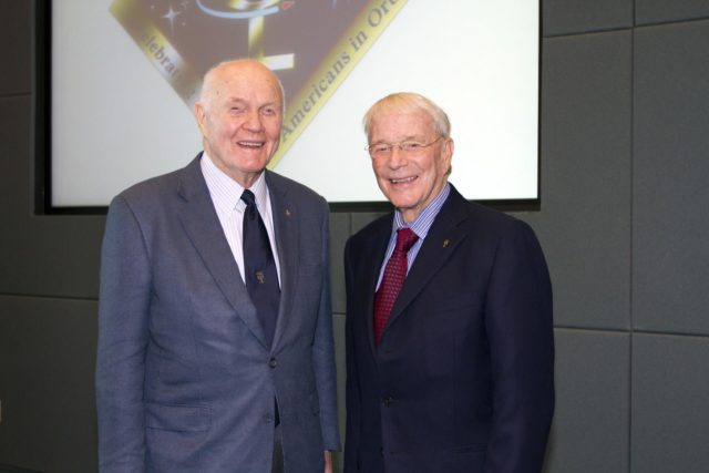 "CAPE CANAVERAL, Fla. - Mercury astronauts John Glenn, left, and Scott Carpenter pose during a luncheon Feb. 17, 2012, celebrating 50 years of Americans in orbit, an era which began with Glenn's Mercury mission MA-6, on Feb. 20, 1962.  Glenn's launch aboard an Atlas rocket took with it the hopes of an entire nation and ushered in a new era of space travel that eventually led to Americans walking on the moon by the end of the 1960s. Glenn soon was followed into orbit by Scott Carpenter, Walter Schirra and Gordon Cooper. Their fellow Mercury astronauts Alan Shepard and Virgil ""Gus"" Grissom flew earlier suborbital flights. Deke Slayton, a member of NASA's original Mercury 7 astronauts, was grounded by a medical condition until the Apollo-Soyuz Test Project in 1975. Photo credit: NASA/Kim Shiflett KSC-2012-1426"