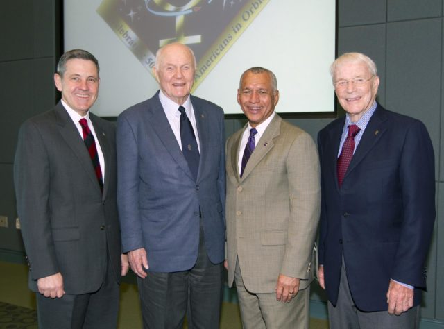 "CAPE CANAVERAL, Fla. - Kennedy Space Center Director Bob Cabana, from left, Mercury astronaut John Glenn, NASA Administrator Charles Bolden and Mercury astronaut Scott Carpenter pose during a luncheon Feb. 17, 2012, celebrating 50 years of Americans in orbit, an era which began with Glenn's Mercury mission MA-6, on Feb. 20, 1962.  Glenn's launch aboard an Atlas rocket took with it the hopes of an entire nation and ushered in a new era of space travel that eventually led to Americans walking on the moon by the end of the 1960s. Glenn soon was followed into orbit by Scott Carpenter, Walter Schirra and Gordon Cooper. Their fellow Mercury astronauts Alan Shepard and Virgil ""Gus"" Grissom flew earlier suborbital flights. Deke Slayton, a member of NASA's original Mercury 7 astronauts, was grounded by a medical condition until the Apollo-Soyuz Test Project in 1975. Photo credit: NASA/Kim Shiflett KSC-2012-1427"