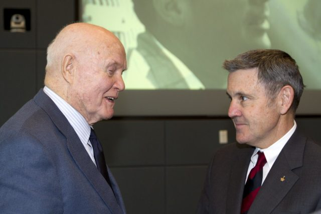 "CAPE CANAVERAL, Fla. - Mercury astronaut John Glenn, left, talks with Kennedy Space Center Director Bob Cabana during a luncheon Feb. 17, 2012, celebrating 50 years of Americans in orbit, an era which began with Glenn's Mercury mission MA-6, on Feb. 20, 1962.  Glenn's launch aboard an Atlas rocket took with it the hopes of an entire nation and ushered in a new era of space travel that eventually led to Americans walking on the moon by the end of the 1960s. Glenn soon was followed into orbit by Scott Carpenter, Walter Schirra and Gordon Cooper. Their fellow Mercury astronauts Alan Shepard and Virgil ""Gus"" Grissom flew earlier suborbital flights. Deke Slayton, a member of NASA's original Mercury 7 astronauts, was grounded by a medical condition until the Apollo-Soyuz Test Project in 1975. Photo credit: NASA/Kim Shiflett KSC-2012-1428"