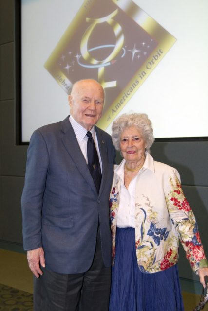 "CAPE CANAVERAL, Fla. - Mercury astronaut John Glenn and his wife, Annie, pose during a luncheon Feb. 17, 2012, celebrating 50 years of Americans in orbit, an era which began with Glenn's Mercury mission MA-6, on Feb. 20, 1962.  Glenn's launch aboard an Atlas rocket took with it the hopes of an entire nation and ushered in a new era of space travel that eventually led to Americans walking on the moon by the end of the 1960s. Glenn soon was followed into orbit by Scott Carpenter, Walter Schirra and Gordon Cooper. Their fellow Mercury astronauts Alan Shepard and Virgil ""Gus"" Grissom flew earlier suborbital flights. Deke Slayton, a member of NASA's original Mercury 7 astronauts, was grounded by a medical condition until the Apollo-Soyuz Test Project in 1975. Photo credit: NASA/Kim Shiflett KSC-2012-1429"