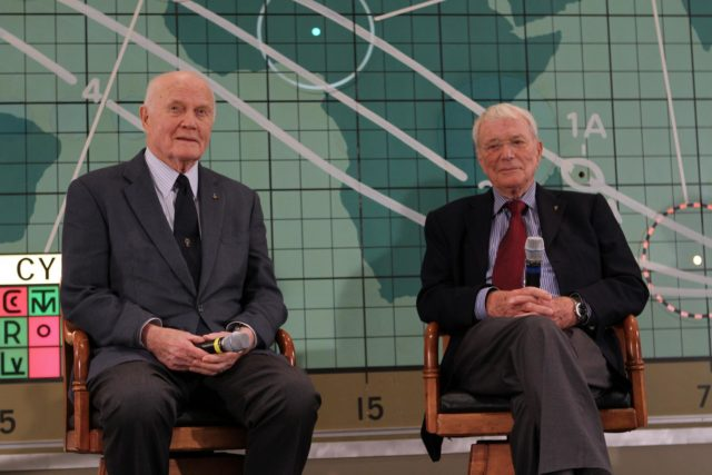 "CAPE CANAVERAL, Fla. --Mercury astronauts John Glenn, left, and Scott Carpenter sit in front of the plot board from the Mercury control center on display at the Kennedy Space Center Visitor Complex in Florida. The astronaut, part of the original class of seven astronauts chosen by NASA, was taking part in a question-and-answer session with the media as part of events celebrating 50 years of Americans in orbit, an era which began with John Glenn's Mercury mission MA-6, on Feb. 20, 1962.  Glenn's launch aboard an Atlas rocket took with it the hopes of an entire nation and ushered in a new era of space travel that eventually led to Americans walking on the moon by the end of the 1960s. Glenn soon was followed into orbit by Carpenter, Walter Schirra and Gordon Cooper. Their fellow Mercury astronauts Alan Shepard and Virgil ""Gus"" Grissom flew earlier suborbital flights. Deke Slayton was grounded by a medical condition until the Apollo-Soyuz Test Project in 1975. Photo credit: NASA/Kim Shiflett KSC-2012-1437"