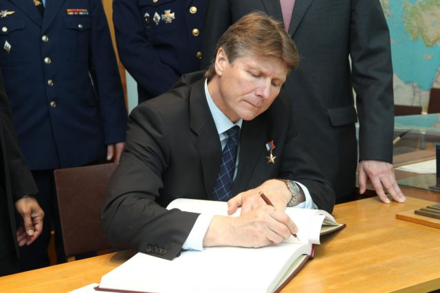 (25 April 2012) --- At the Gagarin Cosmonaut Training Center in Star City, Russia, outside Moscow, Expedition 31 Soyuz commander Gennady Padalka signs a traditional cosmonauts' log at the site's Yuri Gagarin museum. Padalka, along with NASA astronaut Joe Acaba, and cosmonaut Sergei Revin (not pictured) are preparing for the launch May 15 that will take them to the International Space Station on the Soyuz TMA-04M spacecraft from the Baikonur Cosmodrome in Kazakhstan. Photo credit: NASA/Stephanie Stoll jsc2012e044887