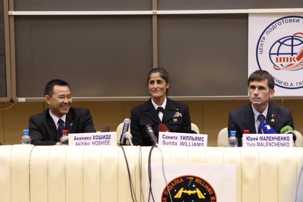 At the Gagarin Cosmonaut Training Center in Star City, Russia, Expedition 32/33 Flight Engineer Aki Hoshide of the Japan Aerospace Exploration Agency (left), NASA Flight Engineer Sunita Williams (center) and Soyuz Commander Yuri Malenchenko answered questions during a pre-launch news conference June 22, 2012. The crew will travel to the Baikonur Cosmodrome in Kazakhstan July 2 for final preparations leading to their launch July 15 to the International Space Station in their Soyuz TMA-05M spacecraft.  Credit: NASA/Stephanie Stoll jsc2012e096281