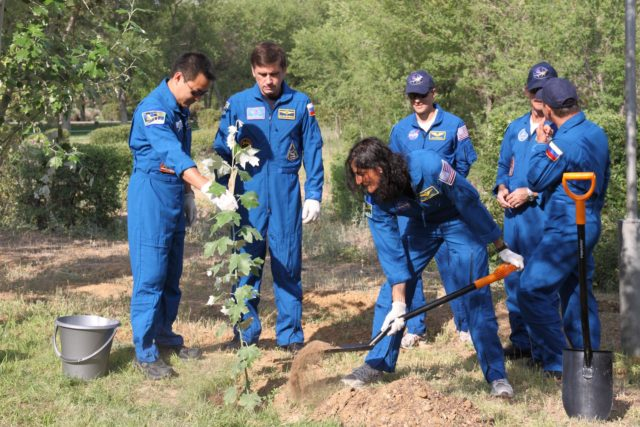 Expedition 32/33 Flight Engineer Sunita Williams of NASA plants a tree in her name behind the Cosmonaut Hotel crew quarters in Baikonur, Kazakhstan July 9, 2012 as part of the traditional ceremonies leading up to her launch July 15 to the International Space Station in their Soyuz TMA-05M spacecraft. Assisting Williams were, from left to right, Flight Engineer Aki Hoshide of the Japan Aerospace Exploration Agency, Soyuz Commander Yuri Malenchenko and backup crew members Tom Marshburn of NASA, Chris Hadfield of the Canadian Space Agency and Russian cosmonaut Roman Romanenko.  NASA/Victor Zelentsov jsc2012e099596