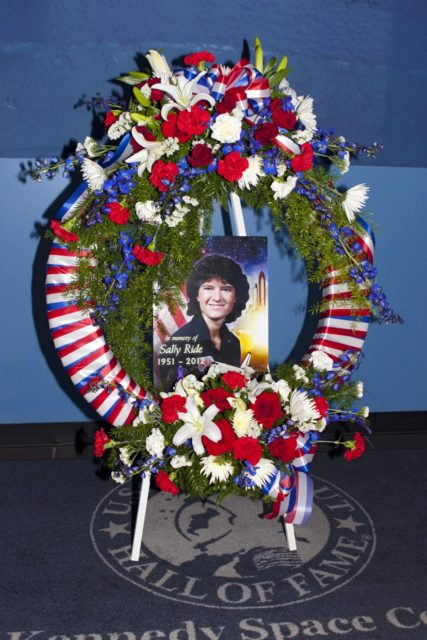 TITUSVILLE, Fla. - A wreath was laid at the U. S. Astronaut Hall of Fame honoring Sally K. Ride, who became America's first woman in space in 1983. Following her death on July 23, 2012, Ride is being remembered for her service to NASA and for her efforts to encourage children to study math, science and technology.      A California-born physicist, she broke the gender barrier 29 years ago when she rode to orbit aboard space shuttle Challenger on STS-7. Ride subsequently served, again as a mission specialist, on STS-41G in 1984. Following her career with NASA, in 2001 Ride founded her own company, Sally Ride Science, to pursue her long-time passion of motivating youth -- especially girls and young women -- to pursue careers in technical fields.  Photo credit: NASA/Jim Grossmann KSC-2012-3958