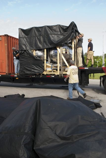 CAPE CANAVERAL, Fla. - NASA's Morpheus lander, a vertical test bed vehicle, is unloaded at the Kennedy Space Center in Florida. Morpheus is designed to demonstrate new green propellant propulsion systems and autonomous landing and an Autonomous Landing and Hazard Avoidance Technology, or ALHAT, system.      Checkout of the prototype lander has been ongoing at NASA's Johnson Space Center in Houston in preparation for its first free flight. The SLF site will provide the lander with the kind of field necessary for realistic testing. Project Morpheus is one of 20 small projects comprising the Advanced Exploration Systems, or AES, program in NASA's Human Exploration and Operations Mission Directorate. AES projects pioneer new approaches for rapidly developing prototype systems, demonstrating key capabilities and validating operational concepts for future human missions beyond Earth orbit. For more information on Project Morpheus, visit http://www.nasa.gov/centers/johnson/exploration/morpheus/index.html  Photo credit: NASA/ Charisse Nahser KSC-2012-4012