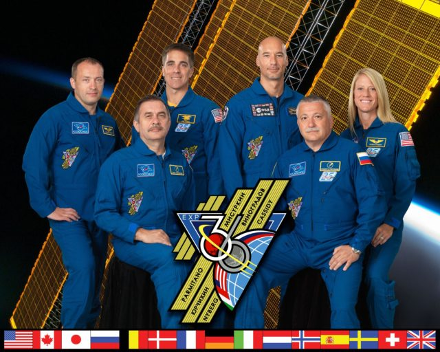 Expedition 36 official portrait. Crew members are: (Soyuz 34) – Pavel Vinogradov, Alexander Misurkin, Chris Cassidy; (Soyuz 35) – Fedor Yurchikhin, Luca Parmitano, Karen Nyberg. (Also known as Expedition 36/37).  Photo Date: July 31, 2012.  Location: Building 8, Rm. 183 - Photo Studio.  Photographer: Robert Markowitz iss036-s-002