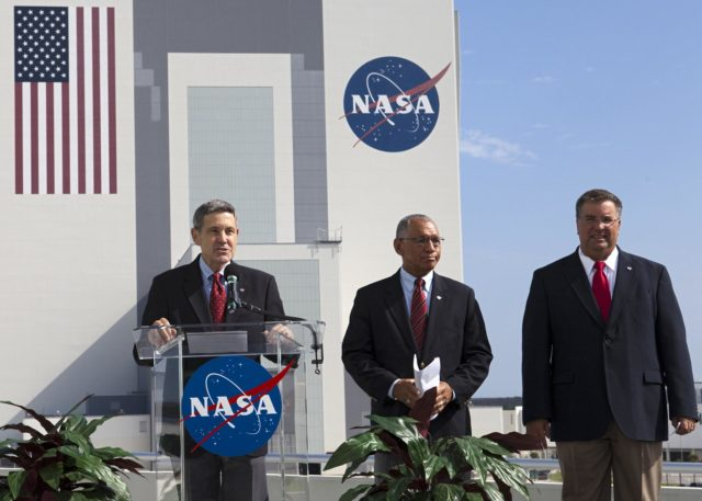 Cape Canaveral, Fla. -- From left, Kennedy Space Center Director Robert Cabana, NASA Administrator Charlie Bolden and Commercial Crew Program CCP, Manager Ed Mango announce the newest partners of NASA's Commercial Crew Program from Operations Support Building 2 OSB II at Kennedy Space Center in Florida. Three integrated systems were selected for CCP's Commercial Crew Integrated Capability CCiCap initiative to propel America's next human space transportation system to low Earth orbit forward. Operating under funded Space Act Agreements SAAs, The Boeing Co. of Houston, Sierra Nevada Corp. SNC Space Systems of Louisville, Colo., and Space Exploration Technologies SpaceX of Hawthorne, Calif., will spend the next 21 months completing their designs, conducting critical risk reduction testing on their spacecraft and launch vehicles, and showcasing how they would operate and manage missions from launch through orbit and landing, setting the stage for future demonstration missions. To learn more about CCP, which is based at Kennedy and supported by NASA's Johnson Space Center in Houston, visit www.nasa.gov/commercialcrew. Photo credit: NASA/Kim Shiflett KSC-2012-4204