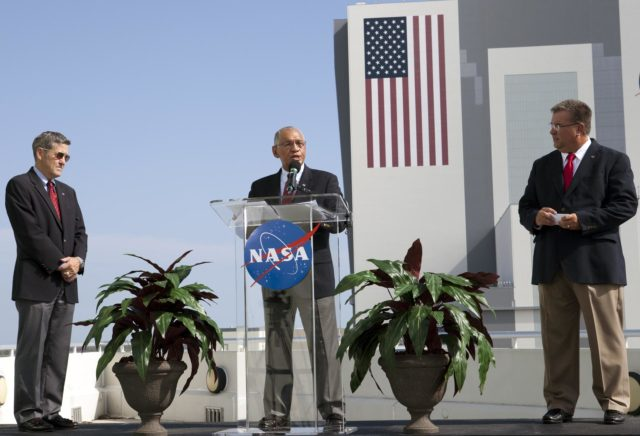 Cape Canaveral, Fla. -- NASA Administrator Charlie Bolden announces the newest partners of NASA's Commercial Crew Program CCP from Operations Support Building 2 OSB II at Kennedy Space Center in Florida. At left, is Kennedy Space Center Director Robert Cabana, and at right, is Commercial Crew Program CCP Manager Ed Mango. Three integrated systems were selected for CCP's Commercial Crew Integrated Capability CCiCap initiative to propel America's next human space transportation system to low Earth orbit forward. Operating under funded Space Act Agreements SAAs, The Boeing Co. of Houston, Sierra Nevada Corp. SNC Space Systems of Louisville, Colo., and Space Exploration Technologies SpaceX of Hawthorne, Calif., will spend the next 21 months completing their designs, conducting critical risk reduction testing on their spacecraft and launch vehicles, and showcasing how they would operate and manage missions from launch through orbit and landing, setting the stage for future demonstration missions. To learn more about CCP, which is based at Kennedy and supported by NASA's Johnson Space Center in Houston, visit www.nasa.gov/commercialcrew. Photo credit: NASA/Kim Shiflett KSC-2012-4207