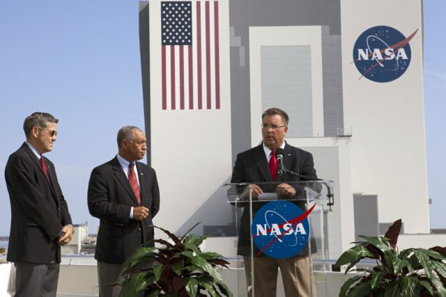 Cape Canaveral, Fla. -- NASA Commercial Crew Program CCP Manager Ed Mango discusses the program's newest partnerships from the Operations Support Building 2 OSB II at Kennedy Space Center in Florida. From left, are Kennedy Space Center Director Robert Cabana and NASA Administrator Charlie Bolden. Three integrated systems were selected for CCP's Commercial Crew Integrated Capability CCiCap initiative to propel America's next human space transportation system to low Earth orbit forward. Operating under funded Space Act Agreements SAAs, The Boeing Co. of Houston, Sierra Nevada Corp. SNC Space Systems of Louisville, Colo., and Space Exploration Technologies SpaceX of Hawthorne, Calif., will spend the next 21 months completing their designs, conducting critical risk reduction testing on their spacecraft and launch vehicles, and showcasing how they would operate and manage missions from launch through orbit and landing, setting the stage for future demonstration missions. To learn more about CCP, which is based at Kennedy and supported by NASA's Johnson Space Center in Houston, visit www.nasa.gov/commercialcrew. Photo credit: NASA/Kim Shiflett KSC-2012-4209