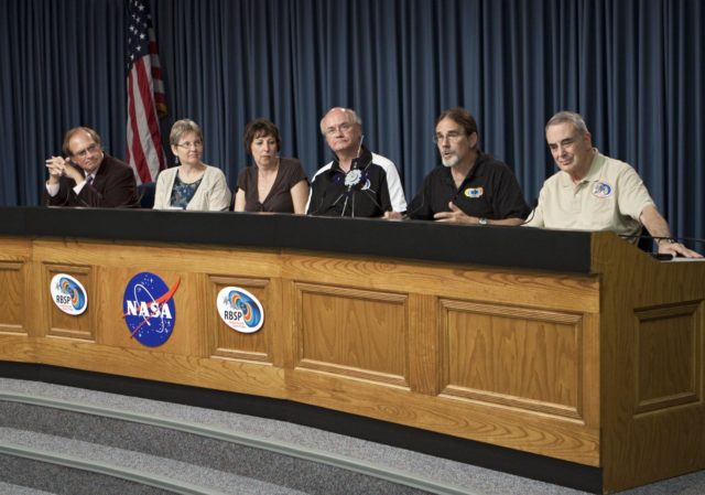 CAPE CANAVERAL, Fla. - A mission science briefing was held at NASA Kennedy Space Center's Press Site in Florida for the Radiation Belt Storm Probes, or RBSP, mission. From left, are George Diller, public affairs specialist and news conference moderator, Mona Kessel, RBSP program scientist from NASA Headquarters in Washington,  Nicola Fox, RBSP deputy project scientist at Johns Hopkins Applied Physics Laboratory in Laurel, Md., Craig Kletzing, principal investigator from the University of Iowa, Harlan Spence, principal investigator from the University of New Hampshire, and Lou Lanzerotti, principal investigator from the New Jersey Institute of Technology.     NASA's RBSP mission will help us understand the sun's influence on Earth and near-Earth space by studying the Earth's radiation belts on various scales of space and time. RBSP will begin its mission of exploration of Earth's Van Allen radiation belts and the extremes of space weather after its launch aboard an Atlas V rocket. Launch is targeted for Aug. 24. For more information, visit http://www.nasa.gov/rbsp. Photo credit: NASA/Glenn Benson KSC-2012-4548