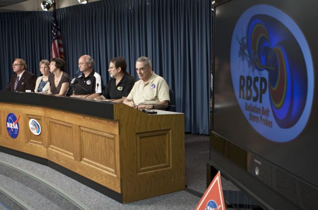 CAPE CANAVERAL, Fla. - A mission science briefing was held at NASA Kennedy Space Center's Press Site in Florida for the Radiation Belt Storm Probes, or RBSP, mission. From left, are George Diller, public affairs specialist and news conference moderator, Mona Kessel, RBSP program scientist from NASA Headquarters in Washington, Nicola Fox, RBSP deputy project scientist at Johns Hopkins Applied Physics Laboratory in Laurel, Md., Craig Kletzing, principal investigator from the University of Iowa, Harlan Spence, principal investigator from the University of New Hampshire, and Lou Lanzerotti, principal investigator from the New Jersey Institute of Technology.     NASA's RBSP mission will help us understand the sun's influence on Earth and near-Earth space by studying the Earth's radiation belts on various scales of space and time. RBSP will begin its mission of exploration of Earth's Van Allen radiation belts and the extremes of space weather after its launch aboard an Atlas V rocket. Launch is targeted for Aug. 24. For more information, visit http://www.nasa.gov/rbsp. Photo credit: NASA/Glenn Benson KSC-2012-4549